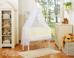 Bedding set 6pcs for bedside cot FABIO- Hanging hearts cream