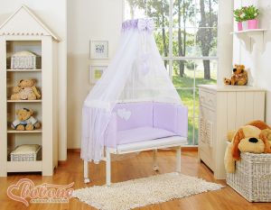 Sets:Bedside cot + mattress+ bedding- Hanging Hearts lilac