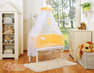 Sets:Bedside cot + mattress+ bedding- Hanging Hearts peach