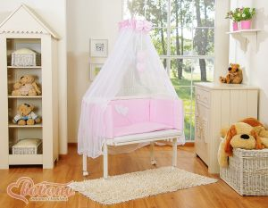 Sets:Bedside cot + mattress+ bedding- Hanging Hearts white polka dots on pink