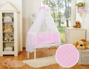 Bedding set 6pcs for bedside cot FABIO- Hanging hearts white polka dots on pink