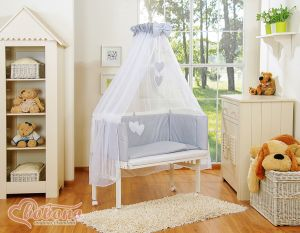 Sets:Bedside cot + mattress+ bedding- Hanging Hearts white polka dots on grey