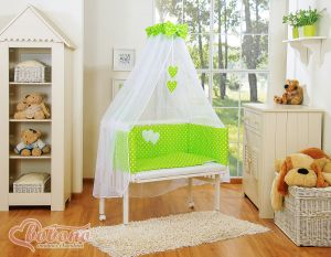 Bedding set 6pcs for bedside cot FABIO- Hanging hearts white dots on green