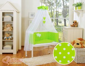 Sets: Bedside cot + mattress+ bedding- Hanging Hearts white dots on green