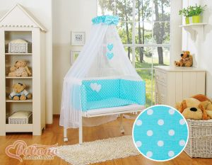 Sets:Bedside cot + mattress+ bedding- Hanging Hearts white dots on turquoise