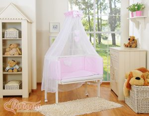 Bedding set 6pcs for bedside cot FABIO- Hanging hearts white dots on pink