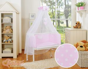 Sets:Bedside cot + mattress+ bedding- Hanging Hearts white dots on pink