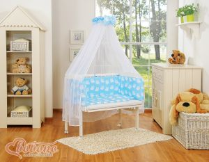 Bedding set 6pcs for bedside cot FABIO- Basic blue owls