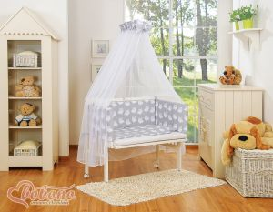 Bedding set 6pcs for bedside cot FABIO- Basic grey owls