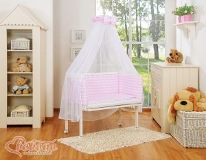 Bedding set 6pcs for bedside cot FABIO- Basic chevron pink