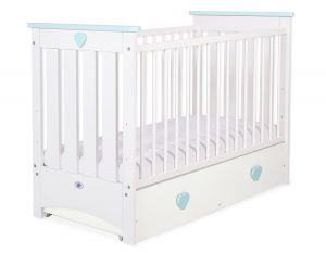 Baby cot 120x60cm Lorenzo III white/mint with drawer MAXI
