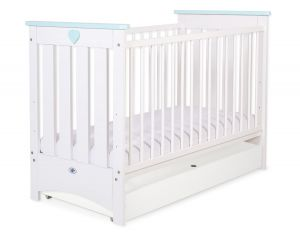 Baby cot 120x60cm Lorenzo III white/mint with drawer STANDARD