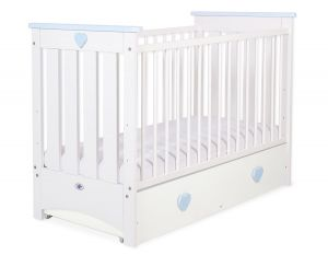 Baby cot 120x60cm Lorenzo III white/blue with drawer MAXI