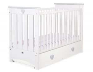 Baby cot 120x60cm Lorenzo III white/grey with drawer MAXI