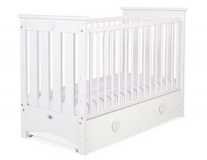 Baby cot 120x60cm Lorenzo III white with drawer MAXI