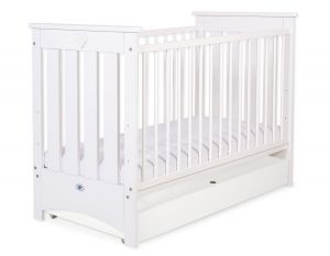 Baby cot 120x60cm Lorenzo III white with drawer STANDARD