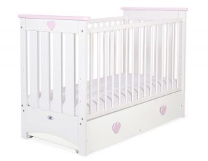 Baby cot 120x60cm Lorenzo III white/pink with drawer MAXI