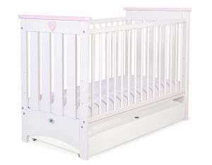 Baby cot 120x60cm Lorenzo III white/pink with drawer STANDARD