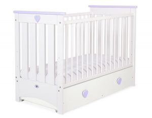 Baby cot 120x60cm Lorenzo III white/lilac with drawer MAXI