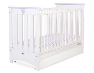 Baby cot 120x60cm Lorenzo III white/lilac with drawer STANDARD