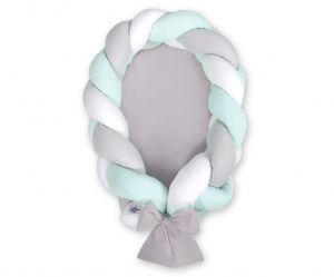 Braided baby nest 2 in 1 - white-gray-mint