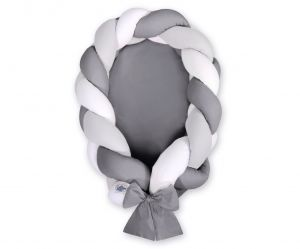 Braided baby nest 2 in 1 - white-gray- anthracite