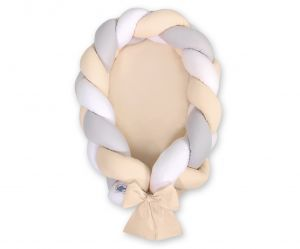 Braided baby nest 2 in 1 - white-gray-beige