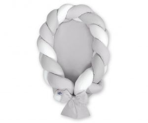 Braided baby nest 2 in 1 - white-gray