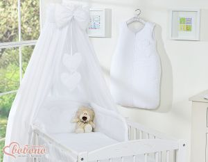 Bedding set 5-pcs with canopy- Hanging Hearts white
