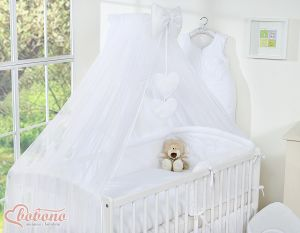 Mosquito-net made of chiffon- Hanging Hearts white