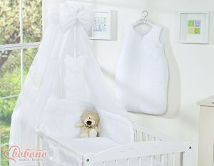 Canopy made of Chiffon- Hanging Hearts white