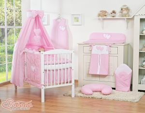 Bedding set 11-pcs with canopy- Hanging Hearts pink