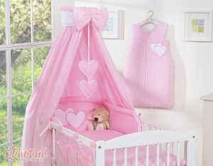 Bedding set 5-pcs with canopy- Hanging Hearts pink