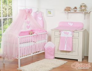 Bedding set 5-pcs with mosquito-net- Hanging Hearts pink