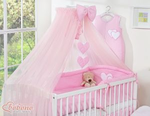 Mosquito-net made of chiffon- Hanging Hearts pink