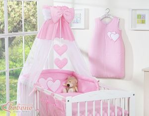 Canopy made of Chiffon- Hanging Hearts pink