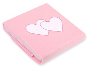 Polar fleece blanket- Hanging hearts pink