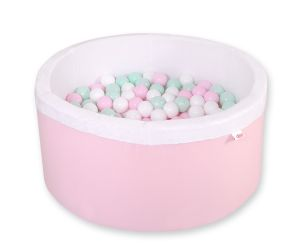 Ball-pit minky  with balls - pink