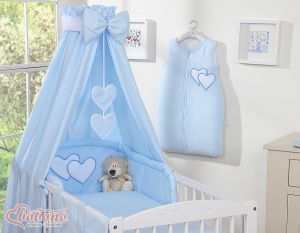 Bedding set 5-pcs with canopy- Hanging Hearts blue