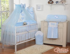 Bedding set 5-pcs with mosquito-net- Hanging Hearts blue