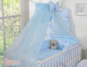Mosquito-net made of chiffon- Hanging Hearts blue