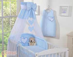 Canopy made of Chiffon- Hanging Hearts blue