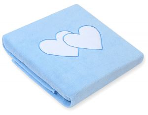 Polar fleece blanket- Hanging hearts blue