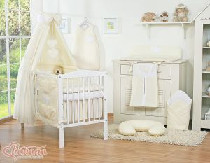 Bedding set 11-pcs with canopy- Hanging Hearts cream