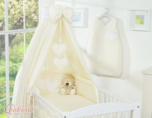 Bedding set 5-pcs with canopy- Hanging Hearts cream