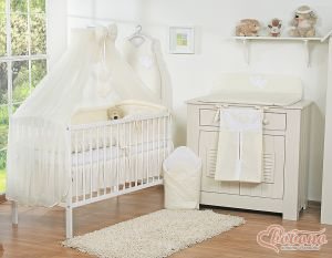 Bedding set 5-pcs with mosquito-net- Hanging Hearts cream