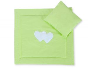 Baby pram set 2pcs- Hanging hearts green