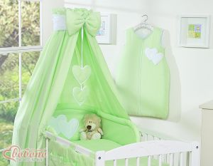 Bedding set 5-pcs with canopy- Hanging Hearts green