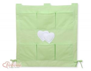 Cot tidy- Hanging Hearts green
