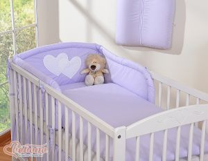 Bedding set 3-pcs- Hanging Hearts lilac